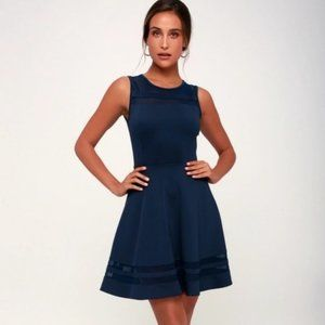 Lulus Final Stretch Navy Blue Peekaboo Dress